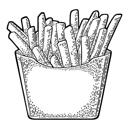 French fry stick potato in paper Box. Isolated on white background with shadow. Vector flat illustration for poster, menus, web, banner, icon.