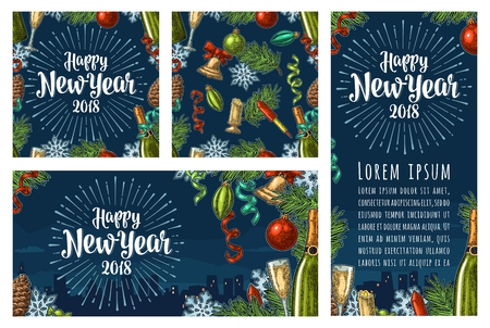 Seamless pattern and posters with Happy New Year 2018 lettering