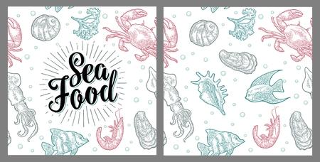 Sea food lettering and seamless pattern shell, crab, shrimp, fish. Ilustração