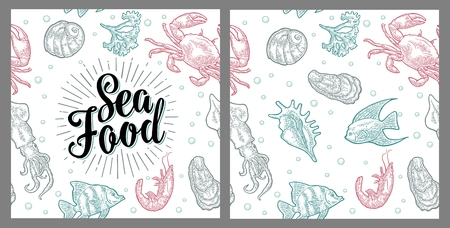 Sea food lettering and seamless pattern shell, crab, shrimp, fish. Illustration