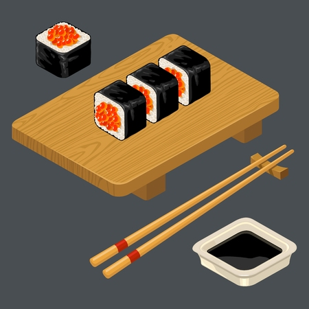 Sushi roll with caviar, chopsticks, soy sauce, wood board.