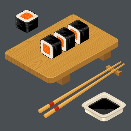 Sushi roll with fish, chopsticks, wasabi in bowl, wood board. Illustration