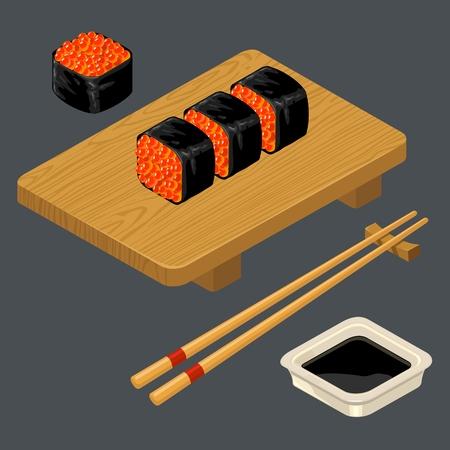 Sushibroodje met kaviaar, eetstokjes, sojasaus, houten bord.