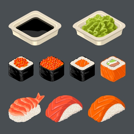 Set Sushi roll. Isolated on dark background. Vector flat color illustration