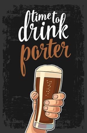 Mannelijke hand die een bierglas met portier houdt. Stock Illustratie