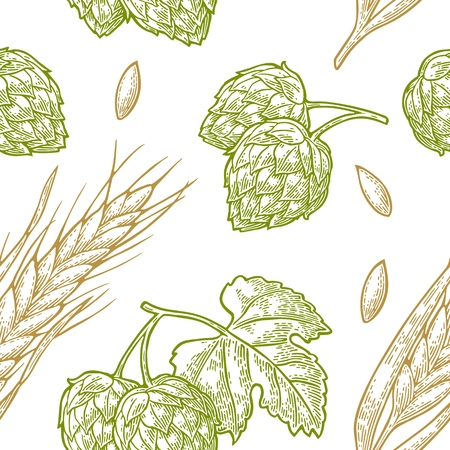 Seamless pattern from hop with leaf and Ear of barley.