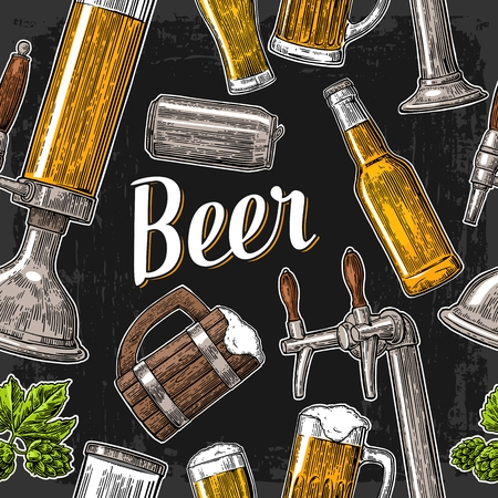 Pattern beer tap, class, can, bottle and hop