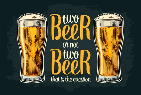 Two beer or not two beer. Vintage vector engraving illustration with calligraphy lettering for web, poster, invitation to party and oktoberfest festival. Isolated on dark background. Ilustrace