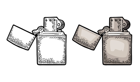 Metal lighter open. Vector vintage engraved color illustration isolated on white background.