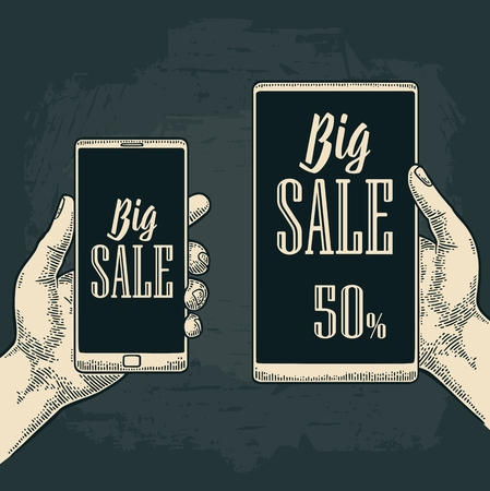 Smart phone hold male hand. Lettered text BIG SALE. Vintage drawn vector engraving illustration for info graphic, poster, web. Isolated on black background