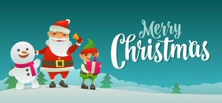 サンタ クロースは、ベルを鳴らす、雪だるまは手を振って、エルフは、贈り物を保持しています。メリー クリスマス書道レタリング。フラット カラー ベクトル イラスト。森のモミの木と丘の風景。 写真素材 - 89747555