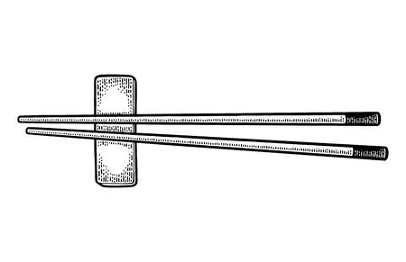 Sushi chopsticks on white background. Vintage black vector engraving illustration for web, poster, menu. Banco de Imagens - 89906801