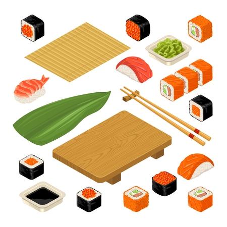 초밥을 설정하십시오. 대나무 매트, 젓가락, 와사비, 간장, 초밥, 롤 및 목재 서빙 보드. 흰색 배경에 고립. 벡터 평면 컬러 그림입니다. 아이콘 및 메뉴  일러스트
