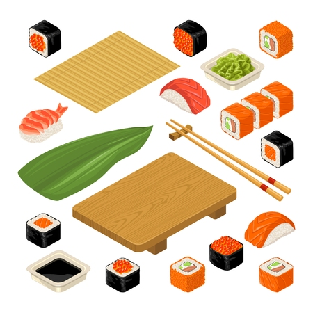 Set Sushi. Bamboo mat, chopsticks, wasabi, soy sauce, nigiri, rolls and wood serving board. Isolated on white background. Vector flat color illustration. For icon and menu