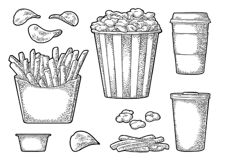 Set fast food. Glass of cola, coffee, chips, fries potato in paper box, carton bucket full popcorn and ketchup. Isolated on white background. Vector vintage engraving illustration for menu Çizim