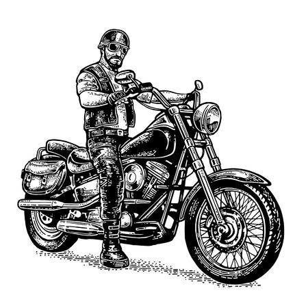 Biker riding a motorcycle. Vector engraved illustration Stock Illustratie