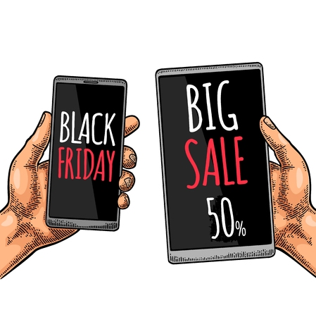 Smartphone hold male hand. Lettered text BLACK FRIDAY BIG SALE. Vintage color vector engraving illustration for info graphic, poster, web. Isolated on white background