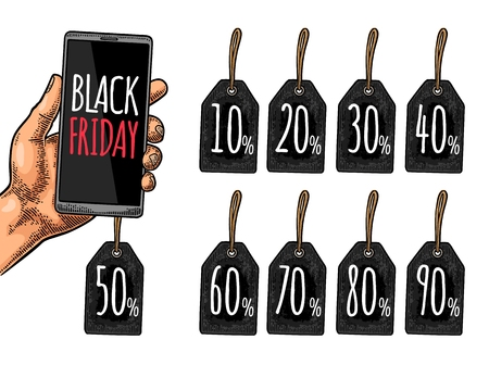 Smartphone hold male hand with hanging sale tag up to 10 - 90 percent text. Lettering BLACK FRIDAY BIG SALE. Vintage color vector engraving illustration. Isolated on white background