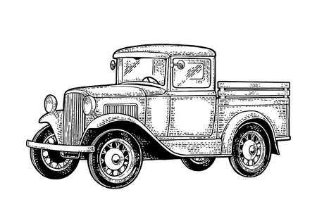 Retro pickup truck. Side view. Vintage black engraving