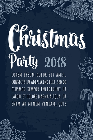 Merry Christmas and Happy New Year party calligraphy lettering