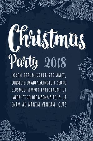 Prettige kerstdagen en gelukkig Nieuwjaar partij kalligrafie belettering Stock Illustratie