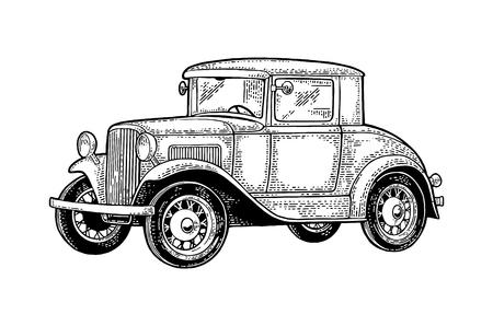 Retro car coupe. Side view. Vintage black engraving Illustration