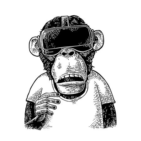 Affe , der Kopfhörer der virtuellen Realität und T-Shirt trägt . Vintage schwarze Gravur