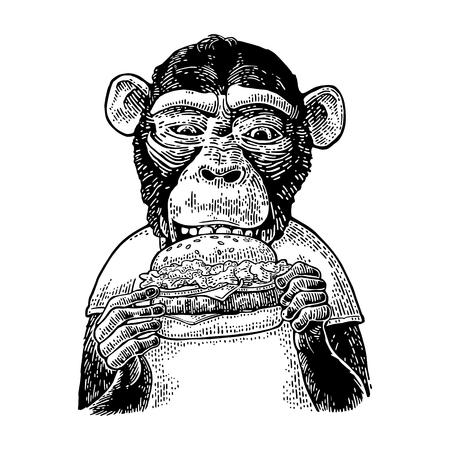 猿食べるハンバーガー ハンバーガー t シャツを着てします。ヴィンテージ黒の彫刻