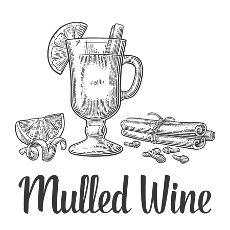 Mulled wine with glass and ingredients. Stock Illustratie