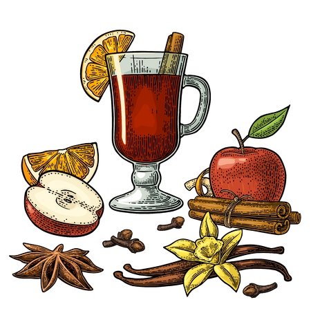 Mulled wine with glass and ingredients. Vector black vintage engraving Vectores
