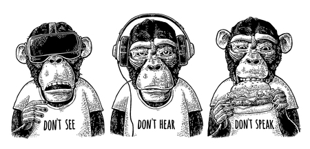 Three wise monkeys. Not see, not hear, not speak. Vintage engraving Ilustração