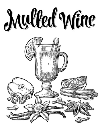 Mulled wine with glass and ingredients. Vector black vintage engraving Imagens - 90922898