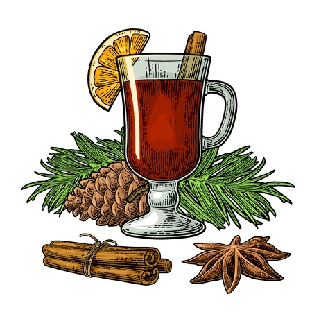 Mulled wine with glass and ingredients. Ilustração