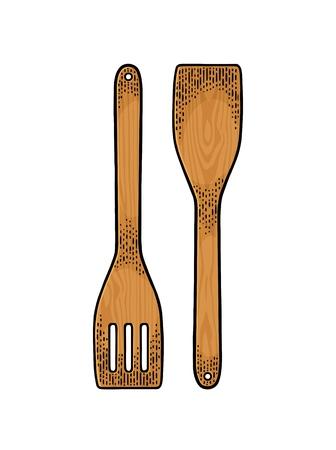 フライパンの木製のスペード。
