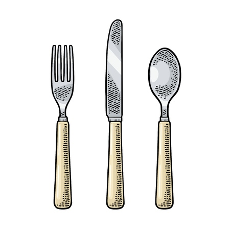 Cutlery set with knifes, spoon and fork. Illustration