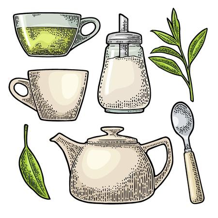 ビンテージ デザインの紅茶とカップ