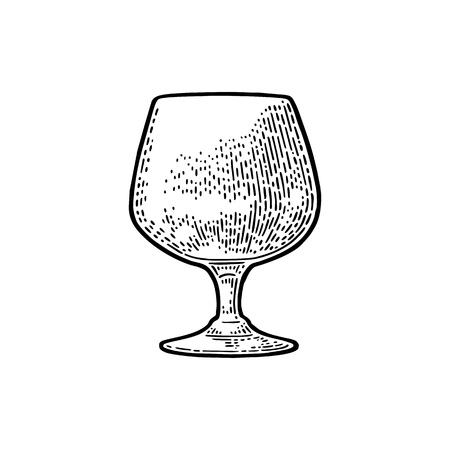空のグラスのコニャック。