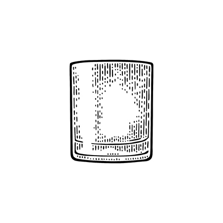 空になったグラスのウイスキー。  イラスト・ベクター素材
