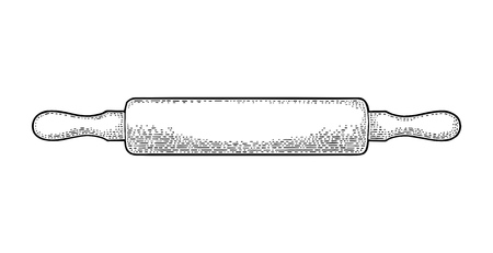 Wood Rolling Pin. Vector black vintage engraving illustration for menu, poster. Isolated on white background