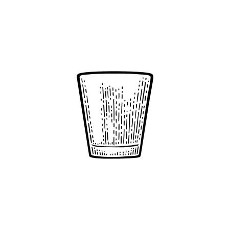 Vodka de cristal vacío. Vector vintage negro grabado aislado sobre fondo blanco. Dibujado a mano ilustración. Foto de archivo - 91031136
