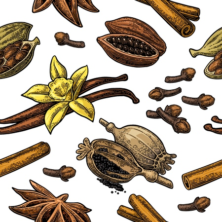 Seamless pattern set of spices vector Vettoriali