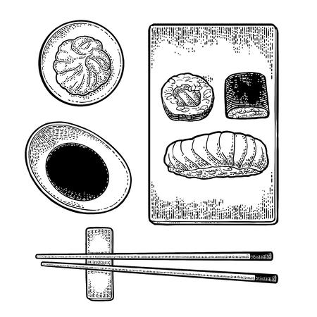 Set of Japanese food vector illustration