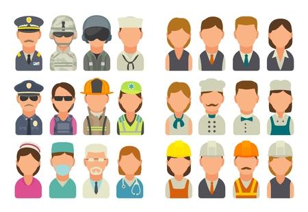아이콘 사람들이 다른 직업을 설정합니다. 캐릭터 요리사, 건축업자, 사업가, 군대, 경찰, 소방관 및 위생병. 흰색 배경에 벡터 평면 그림입니다. 일러스트