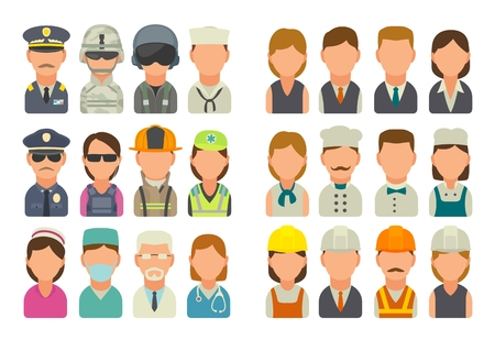 Set icon people different professions. Character cook, builder, business, army, police, fireman and medic. Vector flat illustration on white background.