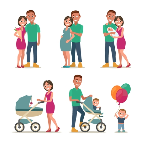 Three stages of creating a family. Couple in love, pregnancy, the birth of a child, parents with baby carriage, son is playing balloon. Color flat vector illustration isolated on white background. Stok Fotoğraf