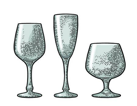空のグラス シャンパン。ベクトル黒ビンテージ彫刻は、白い背景で隔離。手描きのイラスト。