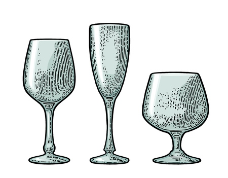 Empty glass champagne. Vector black vintage engraving isolated on white background. Hand drawn illustration.