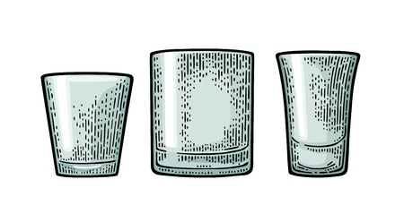 Empty glass vodka, whiskey, rum, tequila. Vector black vintage engraving isolated on white background. Hand drawn illustration.