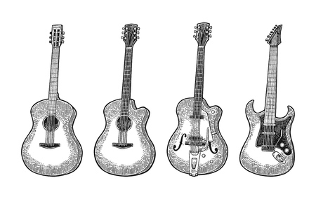 Acoustic and electric guitar. Vintage vector black engraving illustration for poster, web. Isolated on white background. Stock Illustratie
