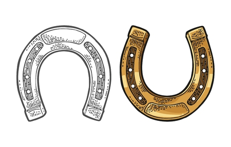 Horseshoe. Vintage black and color vector engraving illustration for info graphic, poster, web. Isolated on white background.